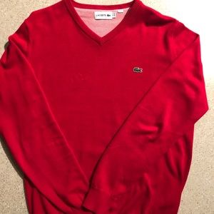 Lacoste Mens Small Red sweater long sleeve vest